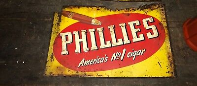 Vintage 1930s Phillies Cigar Embossed Tin Tacker Sign tobacco advertisin