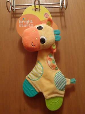 Bright Starts Giraffe Snuggle Teether Patchwork Colors Crinkle Sound NWT