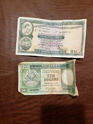 World Paper Money - Hong Kong 10 Dollars 1978 @ Fine Cond and 1987.