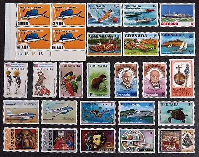 Grenada Stamp Collection Of 23 Mint And 1 Block Of 4 Mint Stamps All Unhinged