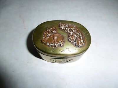 """Japanese antique """"luck"""" copper box"""