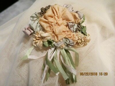 Antique Silk Bouquet Ribbon Rosette Rococo Passementeri  Quilt Doll P M51