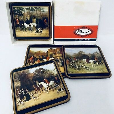 Vintage Pimpernel Coasters Set 4 In Box England English Hunting Dogs Horses