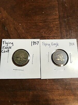 1c One Cent Penny 1857 1858 Flying Eagle Old US Coins -2 Coin Lot .99 Start