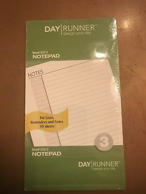 Day Runner Undated Lined Notepad Refill, 3.75 x 6.75 Inches (033-3) New A34