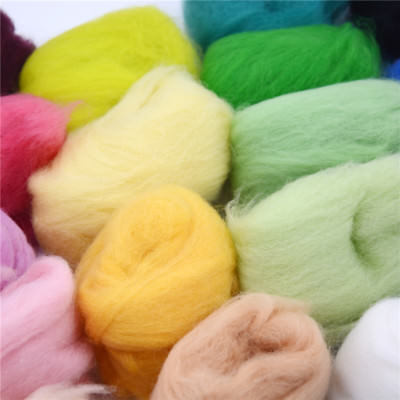 15 Colors Super Soft Wool Fibre Roving Set For Needle Felting Hand Spinning Cw