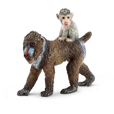 Schleich Mandrill female w/ baby 14716 NEW w/ tag in bag baboons figurine figure