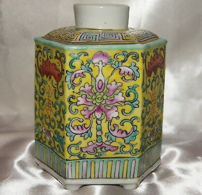 "Antique Chinese Ground Yellow Tea Caddy Six-Sided Marked ""CHINA"""