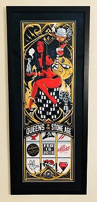 *Queens of the Stone Age framed matted poster* Las Vegas *2/16* Dayne Henry S/N