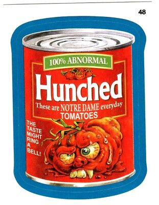 "2015 Wacky Packages Series 1 Blue Border ""HUNCHED TOMATOES"" #48 Sticker Card"
