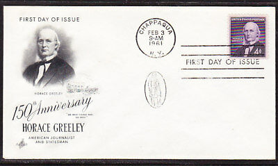 """USA """"Artcraft"""" 1961 Horace Greeley First Day Cover"""