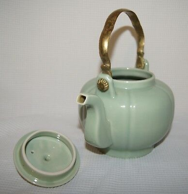 Chinese Celadon Teapot With Brass Handle