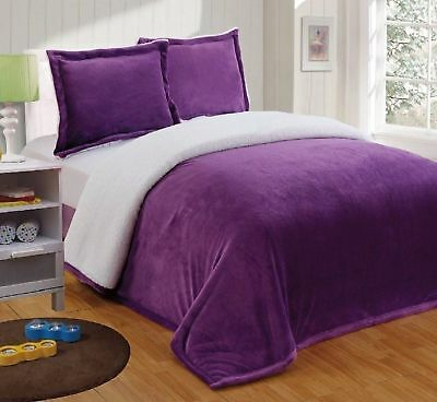 Chezmoi Collection Micromink Sherpa Reversible Throw Blanket (Twin, Purple)