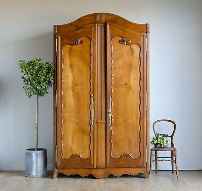 Very Large Antique 18C French Cherrywood Armoire Wardrobe Linen Press Cupboard