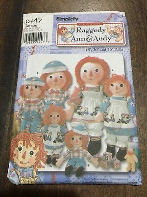 Simplicity Classic Raggedy Ann & Andy Doll Sewing Pattern   NEW & CUTE!