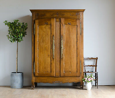 French Antique 18th Century Oak Knockdown Armoire Wardrobe Linen Press Cupboard
