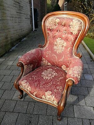 Victorian walnut nursing chair.