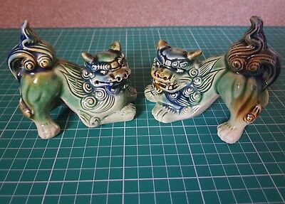 Vintage Green Foo Dog Figurines Asian Temple Dogs Feng Shui Home or Office Decor