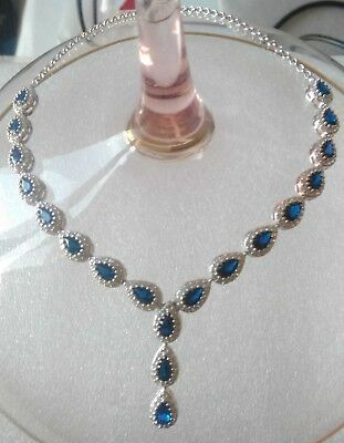 AAA Quality 925 Sterling Silver Jewelry Ceylon Blue Sapphire Lady Necklace