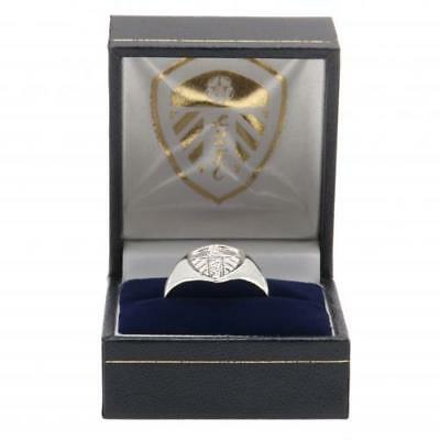 Leeds United Fc Silver Plated Crest Ring S,m,l Size In Black Gift Box New Xmas