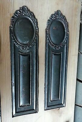 One pair of old ornate door finger plates