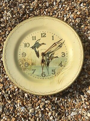 Original Vintage Tin Plate Clock. With Key. SMITHS. Made In Gt Britain.