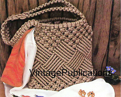 Macrame Shoulder Bag PATTERN .. Macrame Handbag PATTERN .. Laminated COPY
