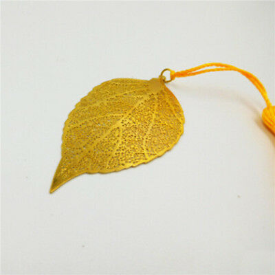 Yellow Tassel Metal Leaf Bookmark Vintage Stationery Chinese Style Decor LH