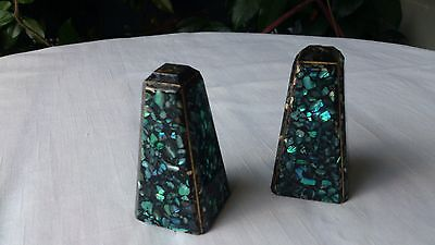 Vintage New Zealand Salt and Pepper Shakers Paua Shell/Abalone