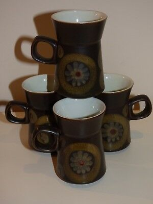 Denby 'Arabesque' Vintage Coffee Cups x 4- Used