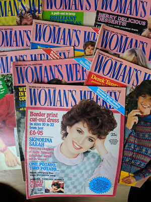 10 x Woman's Weekly Magazine 1984 Cookery Knitting Fiction Celebrities