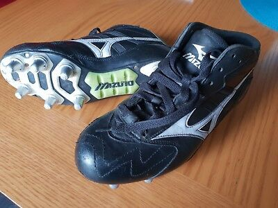 Mizuno Timaru Rugby Boots Black/white/lime size UK 6 - great condition