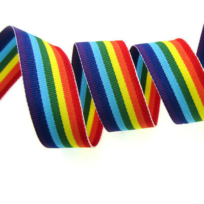"""1"""" Wide Rainbow Striped Ribbon Multicolor Ribbons Decorative Party Supplies 25mm"""