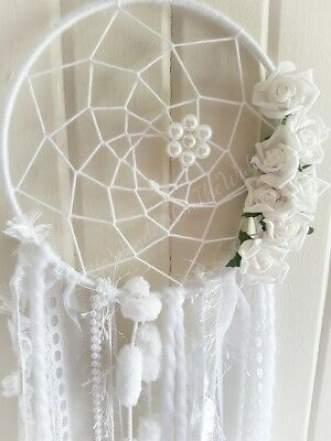 Dream Catcher, Wall Hanging, White, Pearl Beads, Foam Flowers