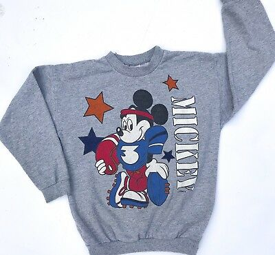 Vintage Kids Disney Mickey Mouse 80s 90s Sweatshirt Jumper Retro 5-6 Y
