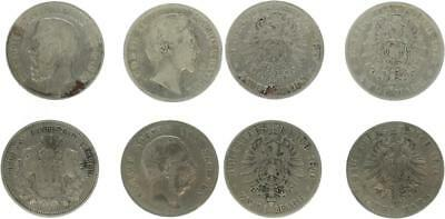Baden 2 Mark 1877 G, Bayern 2 Mark 1876 D, Hamburg 2 Mark 1876 J, Sachsen 2 Mark