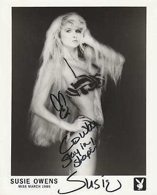 Playboy Playmate Susie Owens signed swimsuit promo March 1988 autographed