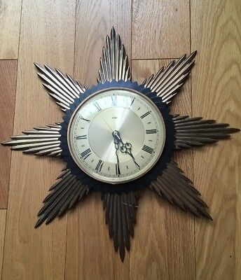 METAMEC SUNBURST WALL CLOCK VINTAGE In Working Order
