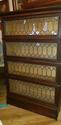 Antique Macey Leaded Oak Barrister Lawyers Bookcase