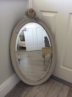 Shabby Chic Lightly Distressed Large Oval Solid Mahogany Mirror Pale Grey Vgc