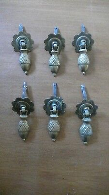 Set of Six Vintage or Antique Brass Pendant Drop Drawer Handles