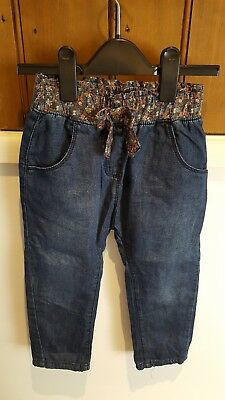 Girls Next 3-4 years Trousers blue denim flowers bow. Never been worn.
