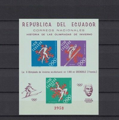 Ecuador 1966 Minr Block 28 B ** / mnh Olympia Grenoble imperforated