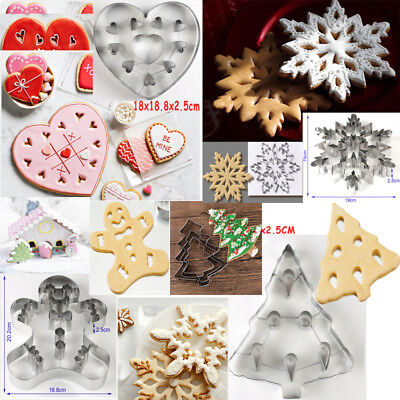 3D Christmas Stainless Cookies Cutter Mould Fondant Cake Biscuit Pastry Mold DIY