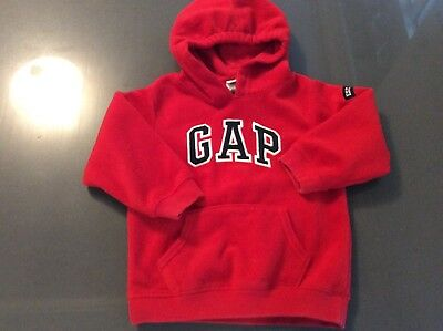 GAP Baby Boys Size 3 Red Polyester Fleece Hoodie with Navy Gap Letters