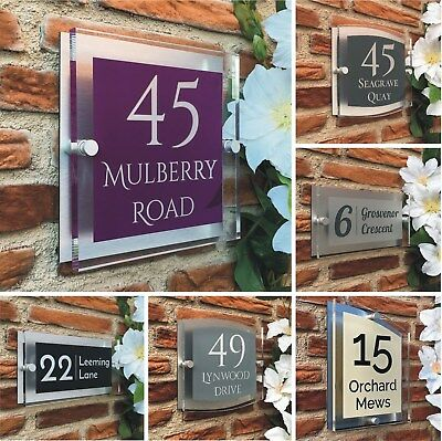 Modern House Sign Personalised for your Door & House Acrylic Number plaque