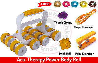 Acu-Therapy Plastic Body Power Roll, Finger Palm Ball Massager, Sujok Rings