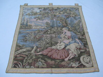 Old French / Belgium Tapestry Wall Hanging - 107 x 101 cm ( 4326 )