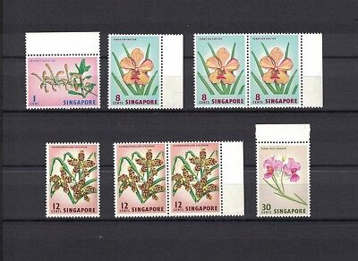 Singapur Singapore 1962 Minr 53, 58, 60, 64 ** / mnh flowers Blumen definitives