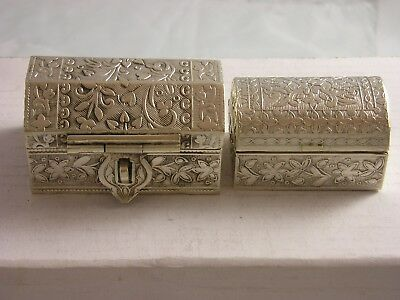 2 Unusual Egypt Silver 925 grade Chests or Trunks 173 grams fine condition